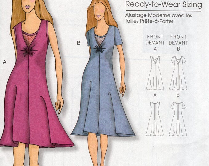 Butterick 5193 Sewing Pattern Free Us Ship Women's Designer Connie Crawford Dress Size XS-XL Bust 34 36 38 40 41 Uncut Ready to Wear