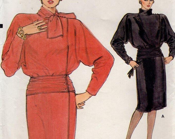 Free Us Ship Sewing Pattern Vogue 9060 Vintage Retro 1980s 80s Wide Shoulder Dolman Sleeve Dress Mock Size 6 8 10 Bust 30.5 31.5 32.5 Uncut