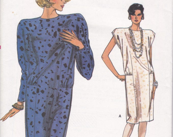 FREE US SHIP Vogue 9431 Sewing Pattern Vintage Retro 1980s 80s Wedge Drop Waist  Dress  Size 6 8 10 Bust 30.5 31.5 32.5 Uncut Factory Folded