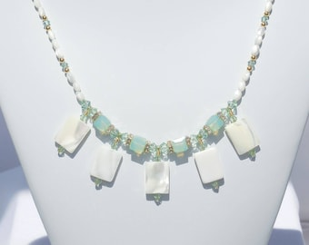 Mother of pearl and Swarovski crystal necklace