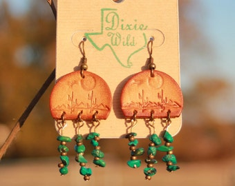 Earrings, Cactus and American Turquoise Earrings, Western, Boho, Southwestern Handmade Leather Jewelry