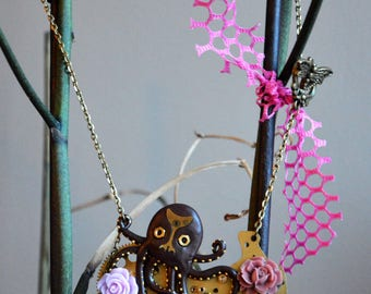 Steampunk Octopus mechanisms and Roses necklace