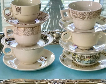 6 Mismatched Tea Cups, Vintage China Teacups, Mismatched China, Bridal Shower Tea, Cups for Crafts, Shabby Chic Wedding