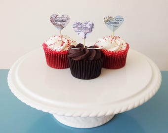 Heart Map Cupcake Toppers - Choose your location