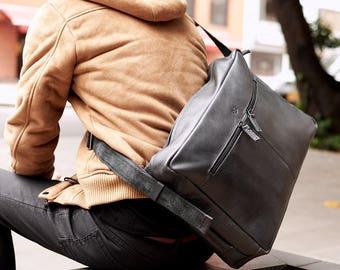 Black Leather Messenger Bag Men, Satchel Bag, Commuter bag, Laptop Leather Bag, Bag for Men, Personalized Monogrammed Gifts for Men // Addox