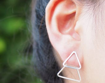 A Pair of Triangle Outline Ear Jacket Earrings, Geometric Jewelry, 925 Sterling Silver, Dainty earrings, Minimalist Jewelry - MI.22