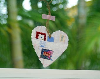 Mixed Media Tag Heart Tags Paper Tags Fabric Tags Set of Two