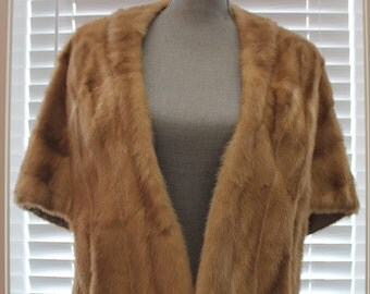 Vintage Mink Stole - Fur Cape - Authentic Blonde Mink Cape with Pockets - Vintage Fur
