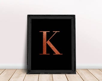 Rose Gold Letter K | Rose Gold Name Print, Rose Gold Nursery, Rose Gold Letter Art, Rose Gold Character, Rose Gold Foil Name, Alphabet Rose