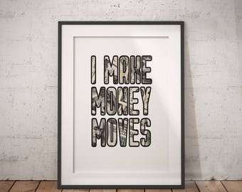 Hip Hop Lyrics I Make Money Moves   Bills, Rap Lyrics, Song Lyrics, Hip Hop Wall Art, Typography, Digital Download, Printable Poster