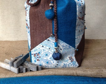 Purse komebukuro revisited. Gift for Valentine's day. Silk, linen and cotton. Blue and Brown.