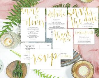 Gold wedding invitation set, Printable wedding invitation gold, Wedding stationery set, Gold invitations, Wedding suite, #AOC1005