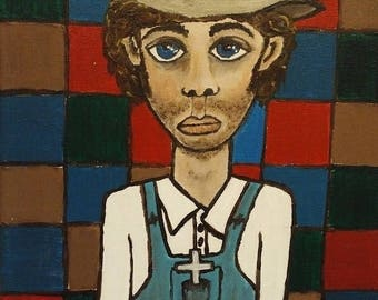 "OOAK Original Acrylic 9"" x 12"" Painting ""Sunday Fella"" done on Canvas in Handmade Wood Frame, Ready to Hang"