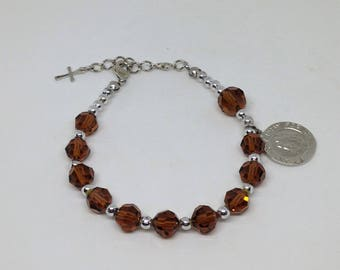 St Anthony Rosary Bracelet, Saint Anthony Chaplet, Topaz Glass Bead Bracelet, Catholic Jewelry, Religious Gift