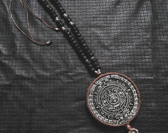 Maya Mala Calendar - Chrysocolle - Black Rudrashka - Ethnic - Boho - Shaman - Jungle - Spirit - Travel - Gypsy - Wanderer - Heritage - Gems