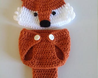 Crocheted Fox Diaper Cover Set, Fox Diaper Cover, Fox Hat, Fox Photo Prop, Infant Fox Outfit, Ready To Ship, Baby Shower Gift, Baby Fox Hat