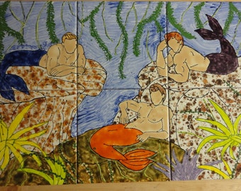 "Merman Grotto 001 Back Splash Mural Hand Painted Kiln Fired Decorative Ceramic Wall Art Tile 12"" X 18"""