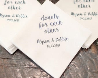 Donuts for Each Other Personalized Wedding Napkins | Wedding Dessert Bar