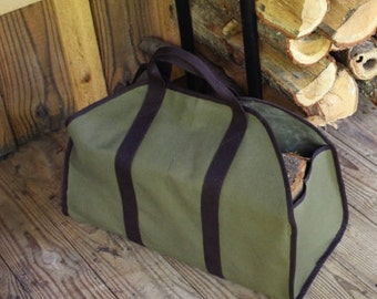 Monogrammed Log Carrier, Personalized Log Carrier, Embroidered Wood Carrier, Firewood Tote, Firewood Caddy, Sturdy Log Sling, Wood Carrier