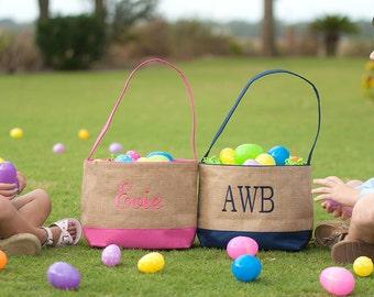 Easter Basket, Monogrammed Easter Basket, Personalized Easter Basket, Kids Easter Basket, Easter Bucket, Burlap Easter Baskets - EB01