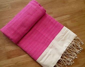 Handmade pink white Hammam Towel   Fouta   Peshtemal   Bathroom   Beach   Towel   Lightweight   Colourful   100% Cotton