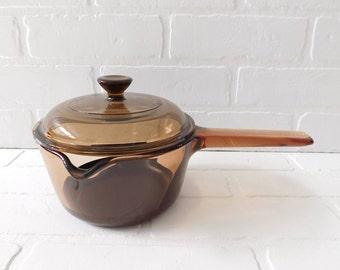 Vintage Corning VISIONS Pour Spout Glass Saucepan, Amber Glass Saucepan 1 Liter