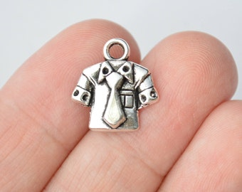 6 Pcs Shirt with Tie Short Sleeve Charms Clothing Antique Silver Tone 15x16mm - YD1872