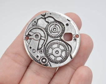 2 Pcs Large Clock Gear Charms Antique Silver Tone 38x38mm - YD2006