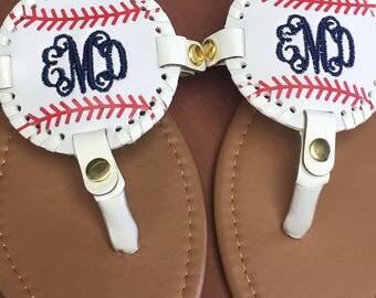 FREE SHIPPING, Baseball Sandals, Softball Sandals, Monogrammed Sandals, Monogrammed Flip Flops, Personalized Sandals, Summer Sandals