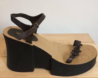 Vintage Esprit Platform Sandals 90s Platform Sandals Wedge Sandals Chunky Sandals Ankle Strap Sandals Flower Sandals 90s Sandals 90s Shoes