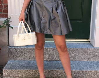 Vintage Grey/Silver Metallic High-Waisted Pleated Mini Skirt
