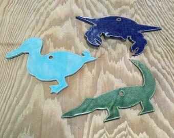 Set of 3 Cajun Critter Ornaments