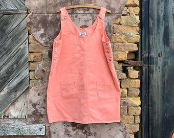 ON SALE ••• Vintage Pink Denim Jumper Dress | large | xl | extra large