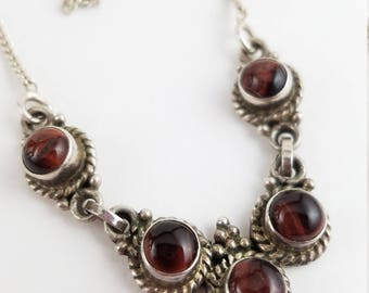 """Vintage tiger eye necklace sterling silver necklace princess necklace brown 16"""" choker for her LL1365"""