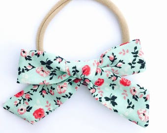 Mint & Pink Floral // Hand tied, Schoolgirl, Fabric Bow