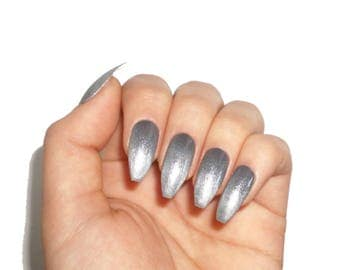 Gunmetal Gel Nails / Fake nails, press on nails, nail art, gift women, jewelry, coffin nails, armor, cosplay, birthday, summer, party, black