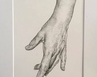 Original ink drawing of hand