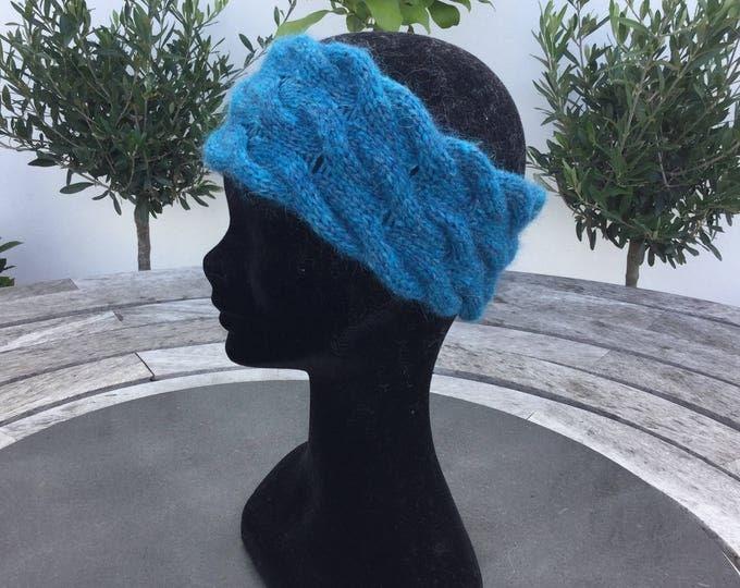 Alpaca headband, ear warmer in turquoise by Willow Luxury