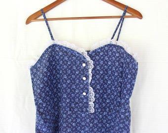 Vintage handmade dress hippie prairie style gunne sax maxi tiered tank dress