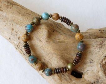 Boho Rustic Bohemian Womens Bracelet, Elastic Bracelet, Jasper Bracelet, Beaded Bracelet, Turquoise Bracelet, Handmade Jewelry, Womens Gift
