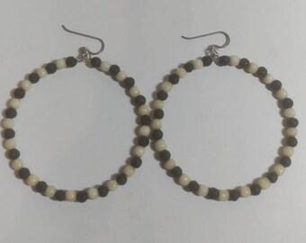 Bone And Lava Rock Earrings