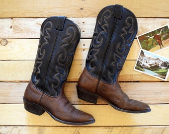 Nocona Men's 8 D Vintage Cowboy Boots Brown and Black Leather 8-Stitch Tops Western U.S.A.