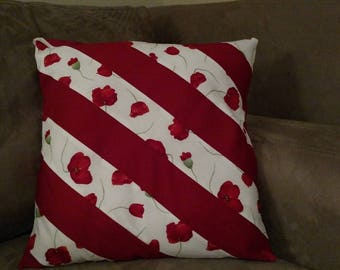 Decorative Pillow Cover, Couch Pillow Cover, Trailing Poppies, 16x16; Ready To Ship Today