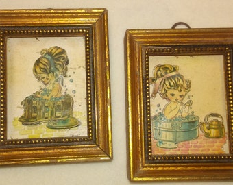 "MINI DECOUPAGE,""Washtub Bubble Bath"",3""x2.5"" Frames,Vintage Girl Prints,Little Bathers Print"