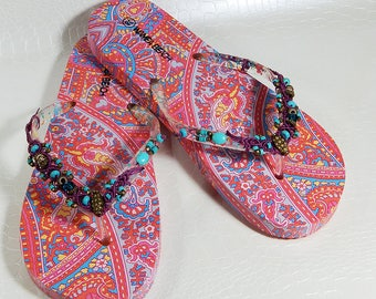 Customized flip flops pink and turquoise
