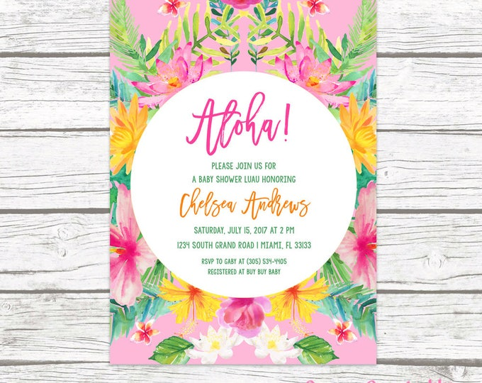 Tropical Baby Shower Invitation, Luau Baby Shower Invitation, Aloha Baby Shower Invite, Tropical Invitation, Hawaiian Printable Invite