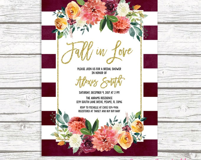 Fall in Love Bridal Shower Invitation, Marsala Bridal Shower Invitation, Burgundy Bridal Shower Invitation, Fall Bridal Shower Invite