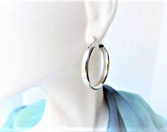Sterling Silver Medium Hoop Earrings