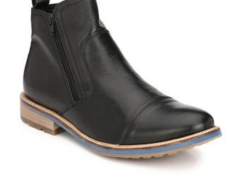 Mens Jacksin Hand Crafted Leather Chelsea Zip Up Boots SS 17