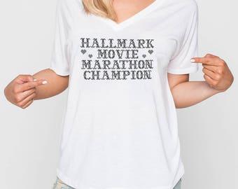 Hallmark Shirt HALLMARK MARATHON • Hallmark Movie Hallmark Christmas Movies Hallmark Channel Movie Marathon Marathon Champion Funny Shirt
